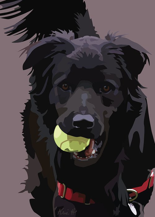 Shelter Dog Greeting Card featuring the digital art Sheltered II by Kris Hackleman