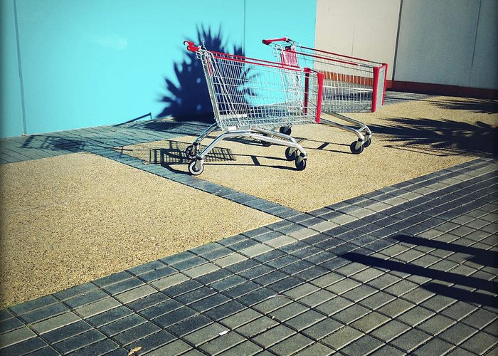 Cart Greeting Card featuring the photograph Shopping Trolleys by Les Cunliffe
