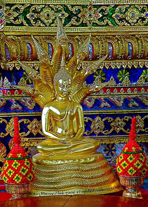 Sitting Buddha In Wat Po In Bangkok Greeting Card featuring the photograph Sitting Buddha In Wat Po In Bangkok-thailand by Ruth Hager