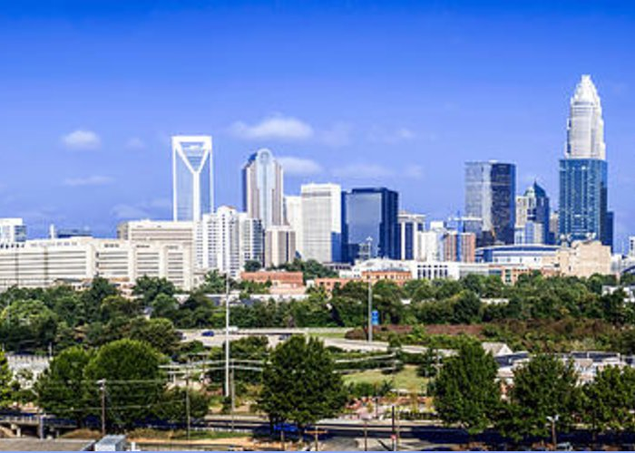 North Greeting Card featuring the photograph Skyline Of Uptown Charlotte North Carolina by Alex Grichenko