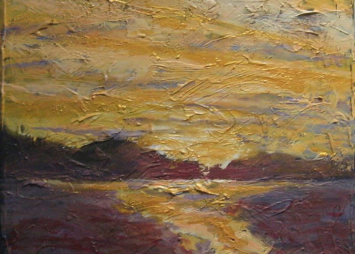 Sunrise Greeting Card featuring the painting Skyscape 4 by Edy Ottesen