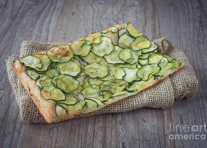 Background Greeting Card featuring the photograph Sliced Pizza With Zucchini by Sabino Parente