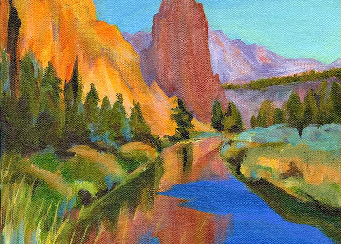 Contemporary Painting Greeting Card featuring the painting Smith Rock Canyon by Tanya Filichkin