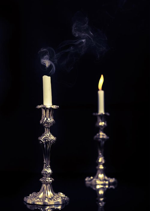 Lit Greeting Card featuring the photograph Smoking Candle by Amanda Elwell