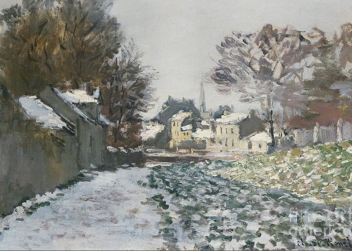 Winter Greeting Card featuring the painting Snow At Argenteuil by Claude Monet