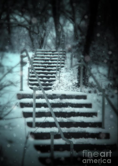 Exterior Greeting Card featuring the photograph Snowy Stairway by Jill Battaglia