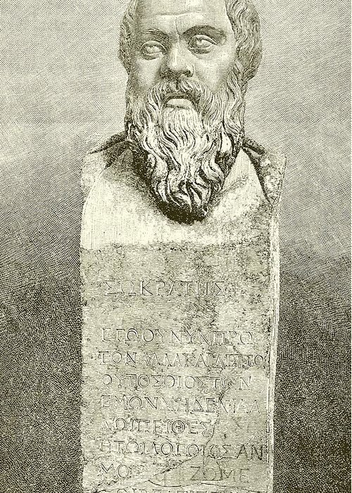 Ancient; Greece; Greek; Socrates; Socrates Greeting Card featuring the drawing Socrates by English School
