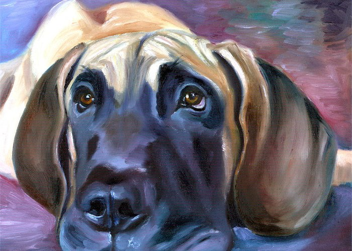 Great Dane Greeting Card featuring the painting Soulful - Great Dane by Lyn Cook