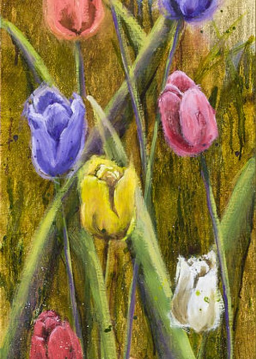 Tulip Greeting Card featuring the painting Splashy Tulips by Vic Mastis