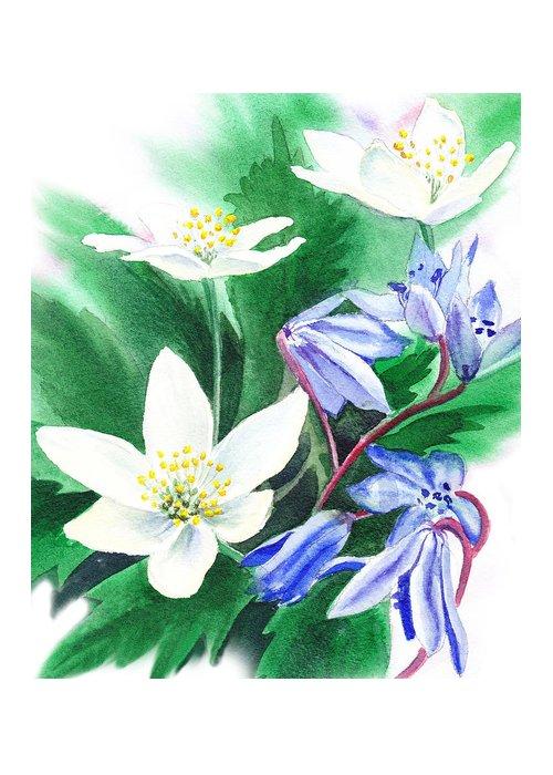 Jasmime Greeting Card featuring the painting Spring Flowers by Irina Sztukowski