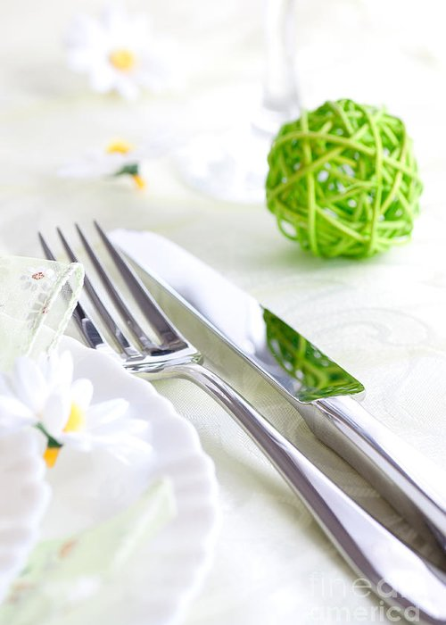 Arrangement Greeting Card featuring the photograph Spring Table Setting by Mythja Photography