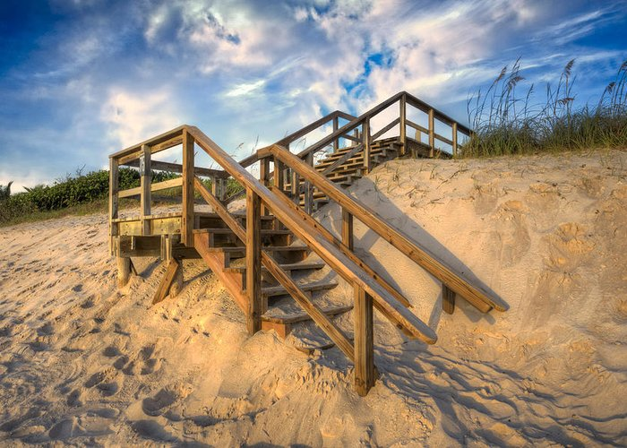 Clouds Greeting Card featuring the photograph Stairway To Heaven by Debra and Dave Vanderlaan