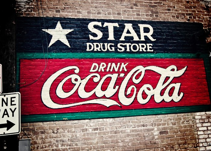 Sign Greeting Card featuring the photograph Star Drug Store Wall Sign by Scott Pellegrin