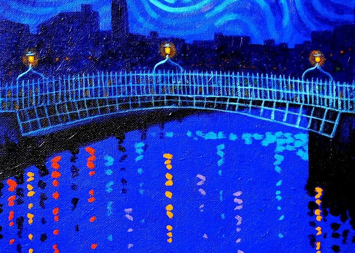 Dublin Greeting Card featuring the painting Starry Night In Dublin by John Nolan