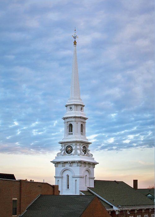 Steeple Greeting Card featuring the photograph Steeple And Rooftops by Eric Gendron