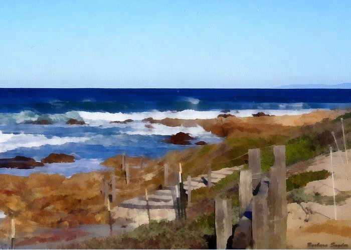 Steps To The Sea Greeting Card featuring the digital art Steps To The Sea by Barbara Snyder