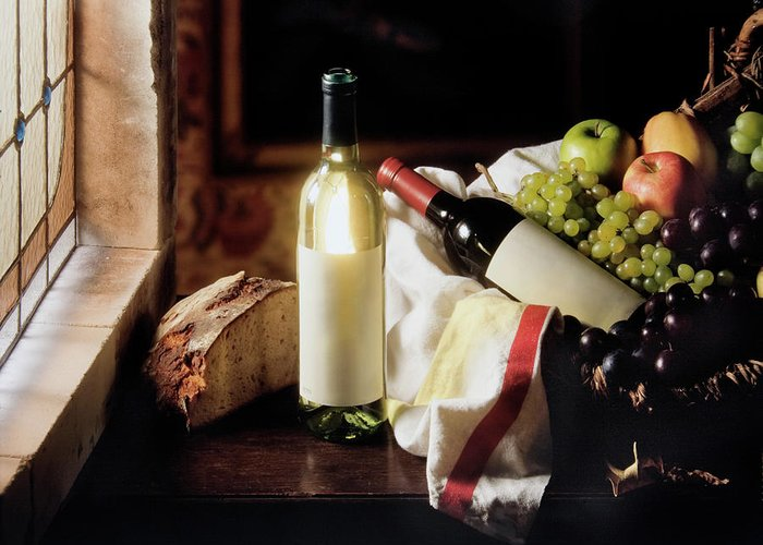 Golden Delicious Apple Greeting Card featuring the photograph Still Life With Two Wine Bottles by C-vino