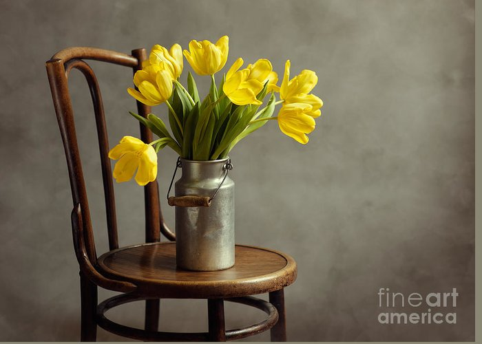 Tulip Greeting Card featuring the photograph Still Life With Yellow Tulips by Nailia Schwarz