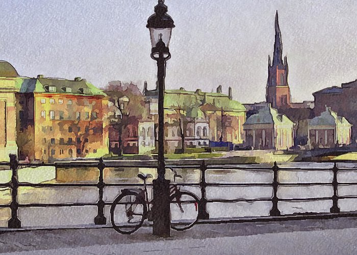 Stockholm Greeting Card featuring the digital art Stockholm 6 by Yury Malkov
