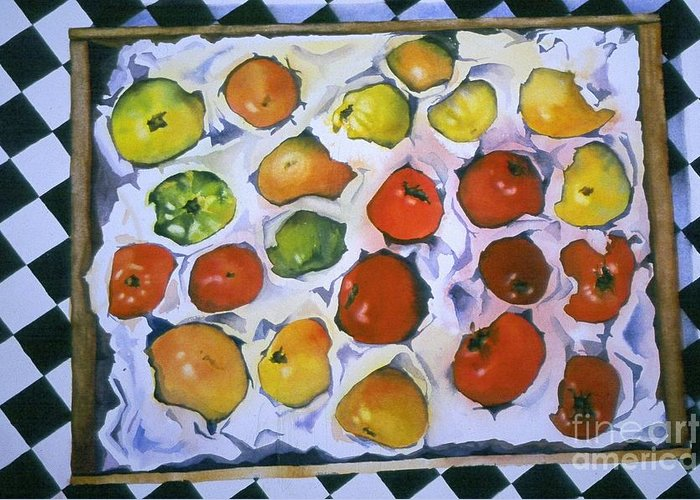 Tomatoes Greeting Card featuring the painting Stop On Red by Elizabeth Carr