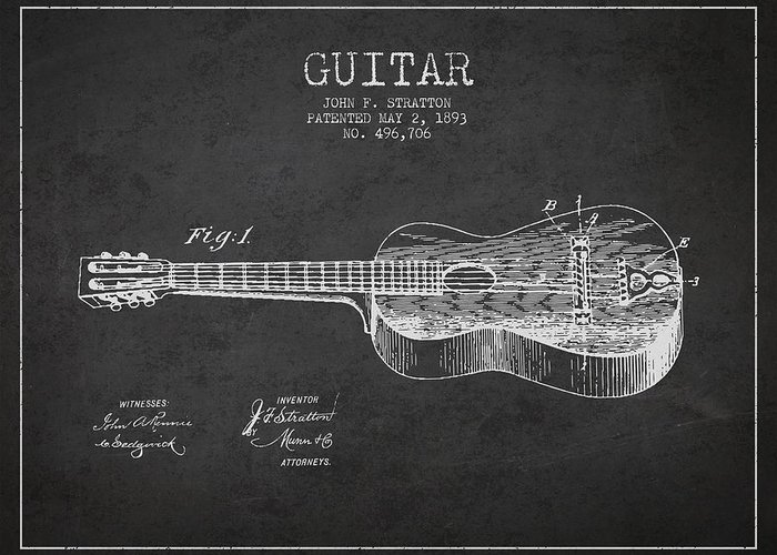 Guitar Patent Greeting Card featuring the digital art Stratton Guitar Patent Drawing From 1893 by Aged Pixel