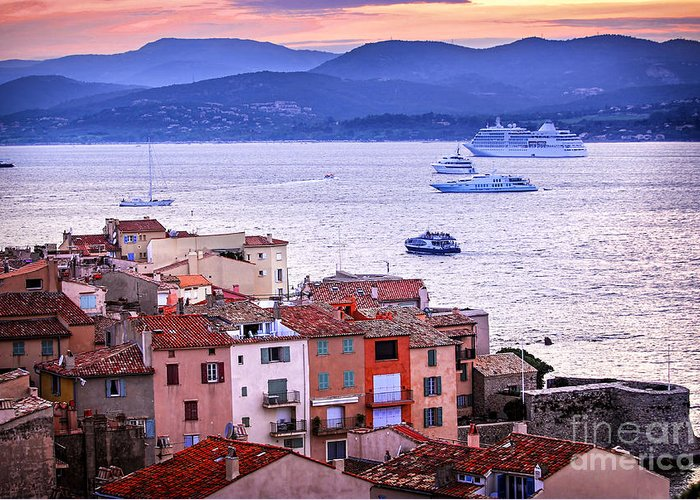 Tropez Greeting Card featuring the photograph St.tropez At Sunset by Elena Elisseeva