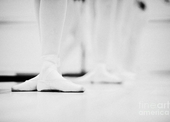 Ballet Greeting Card featuring the photograph Students With Feet In The Third Position At A Ballet School In The Uk by Joe Fox