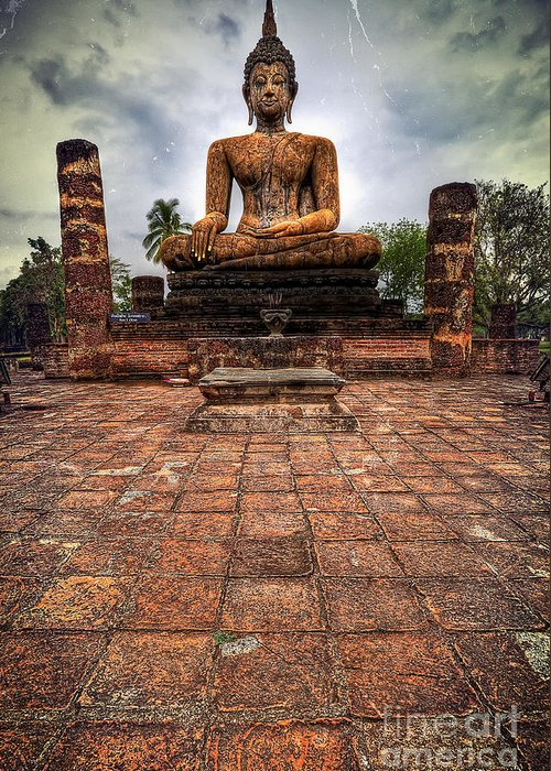 Hdr Greeting Card featuring the photograph Sukhothai Buddha by Adrian Evans