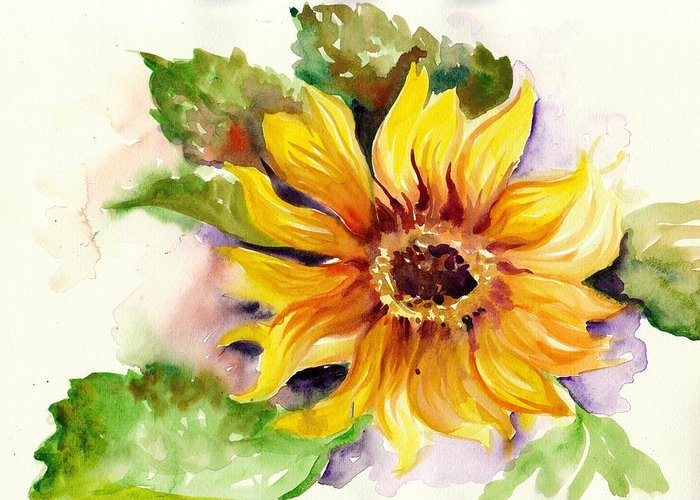 Sunflower Greeting Card featuring the painting Sunflower Watercolor by Tiberiu Soos