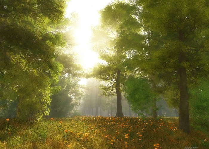 Meadow Greeting Card featuring the digital art Sunlit Meadow by Cynthia Decker
