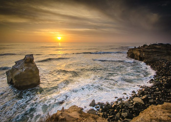 Sunset Greeting Card featuring the photograph Sunset Cliffs by William Murphy