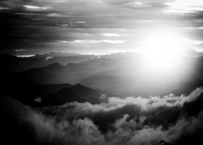 Gosaikunda Greeting Card featuring the photograph Sunset Himalayas Mountain Nepal Silhouette by Raimond Klavins