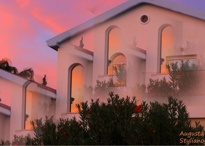 Sunset Greeting Card featuring the digital art Sunset On Houses by Augusta Stylianou