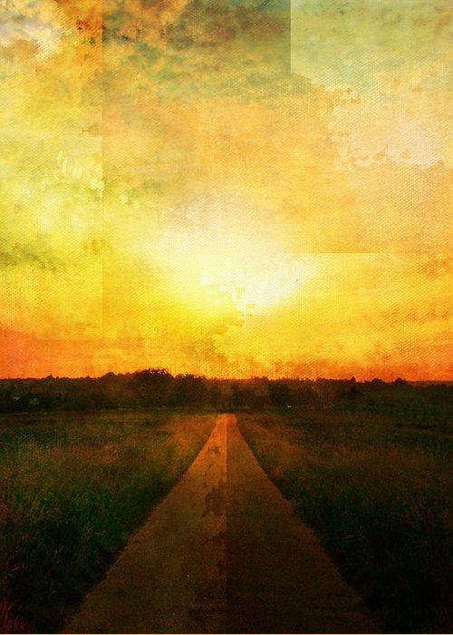 Brett Greeting Card featuring the digital art Sunset Road by Brett Pfister