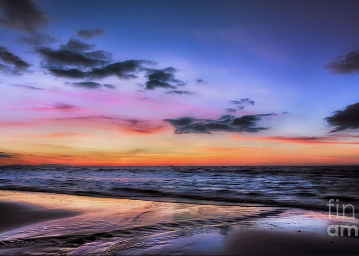 British Greeting Card featuring the photograph Sunset Seascape by Adrian Evans