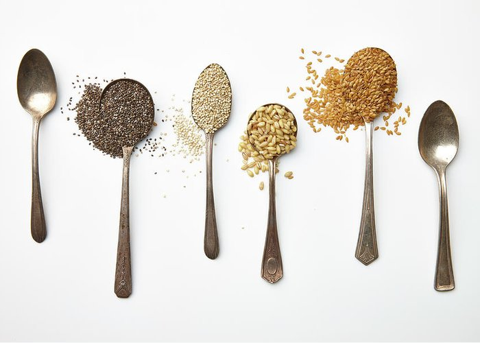 White Background Greeting Card featuring the photograph Super Food Grains by Lew Robertson