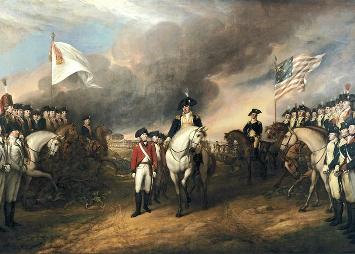 Old Masters Greeting Card featuring the digital art Surrender Of Lord Cornwallis by John Trumbull