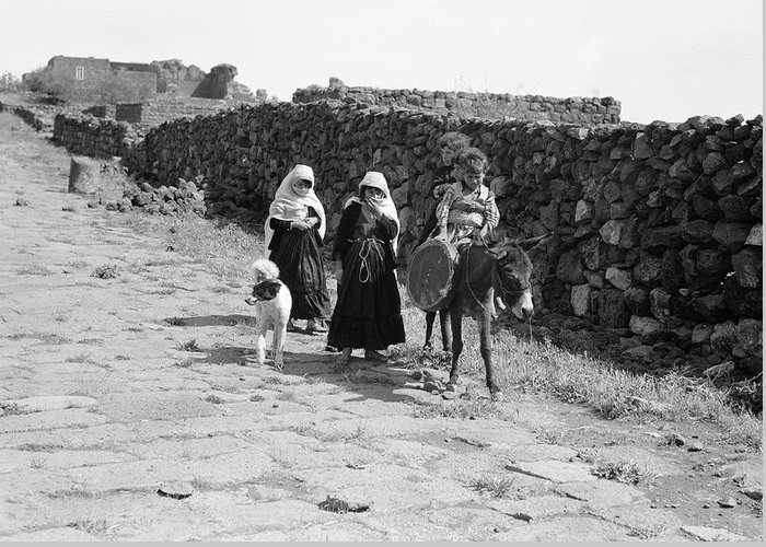 1938 Greeting Card featuring the photograph Syria Druze Children, 1938 by Granger