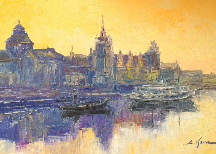 Szczecin Greeting Card featuring the painting Szczecin - Poland by Luke Karcz