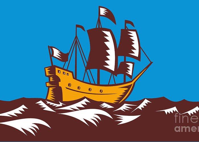 Ship Greeting Card featuring the digital art Tall Sailing Ship Retro Woodcut by Aloysius Patrimonio