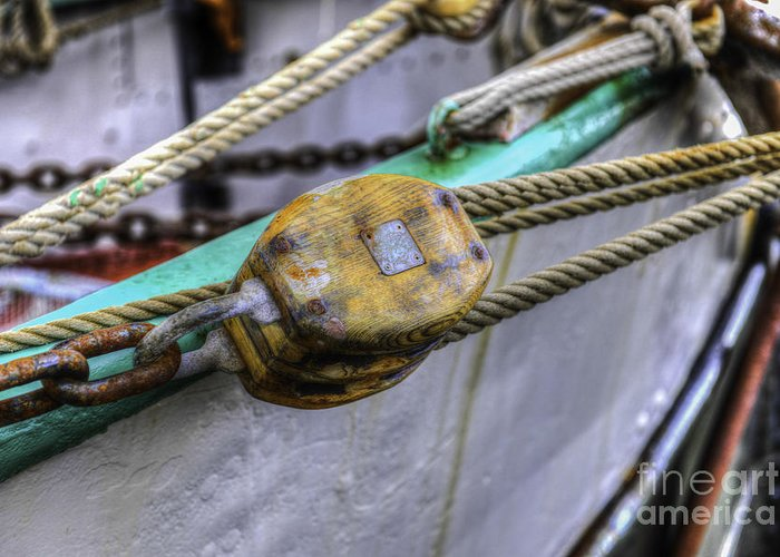 Tall Ship Greeting Card featuring the photograph Tall Ship Wooden Line Block by Dale Powell