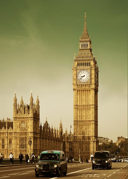 London Greeting Card featuring the photograph Taxi And Big Ben by Songquan Deng