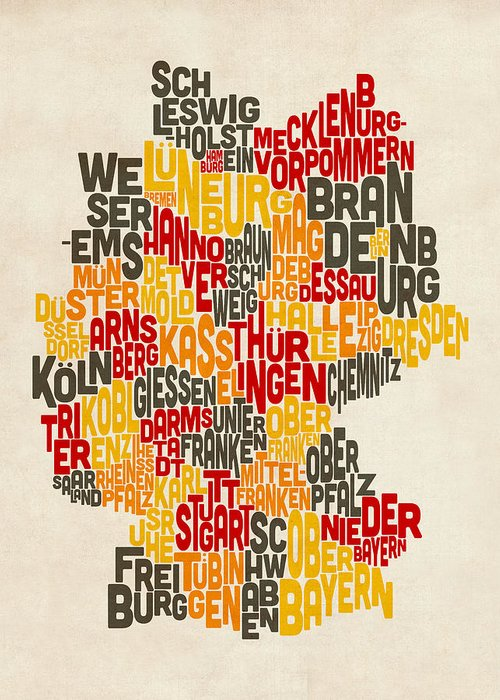 Text Map Greeting Card featuring the digital art Text Map Of Germany Map by Michael Tompsett