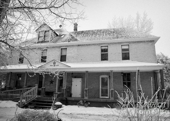 Ananda Greeting Card featuring the photograph the ananda arthouse in the former st josephs rectory in Forget Saskatchewan Canada by Joe Fox