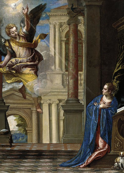 Paolo Veronese Greeting Card featuring the painting The Annunciation by Paolo Veronese