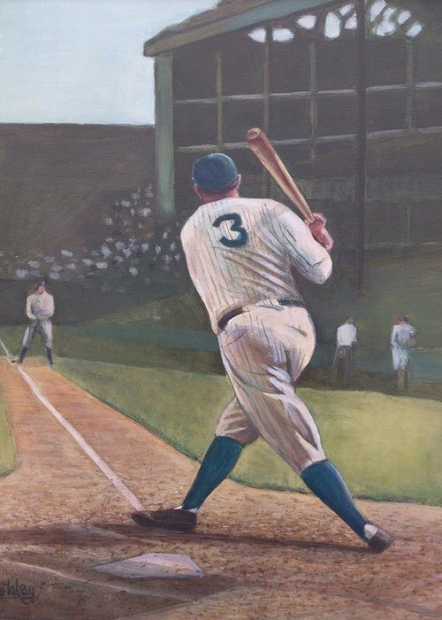 Bambino Greeting Card featuring the painting The Babe Sends One Out by Mark Haley
