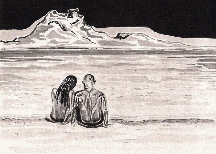 Icelandic Greeting Card featuring the painting The Beach by Heidi Bjork