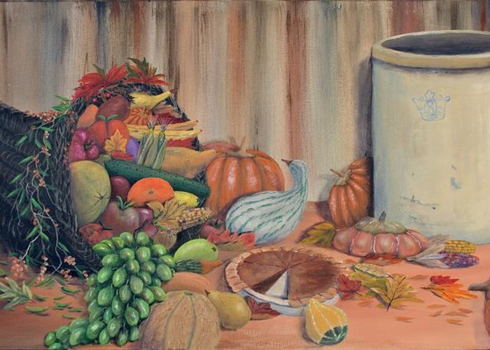 Cornucopia Greeting Card featuring the painting The Bounty by William Stewart