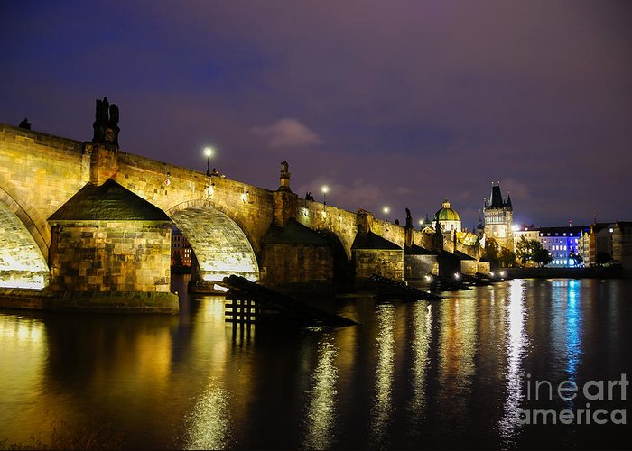 Prague Charles Bridge Greeting Card featuring the photograph The Bridge Across by Syed Aqueel