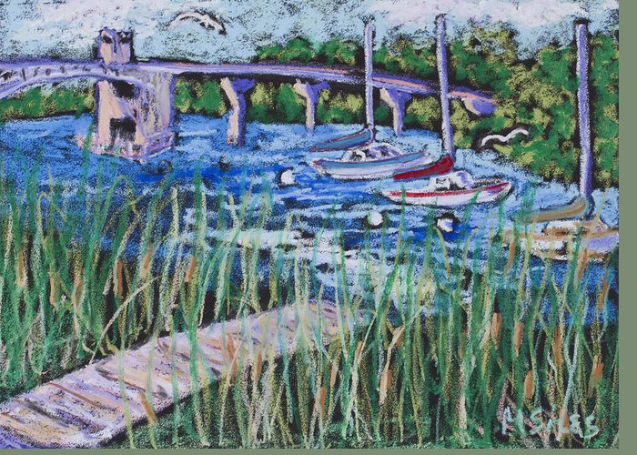 : Bridge Paintings Greeting Card featuring the painting The Bridge by Madonna Siles